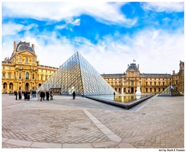 Art print of the Louvre Museum Courtyard on a beautiful afternoon in Paris