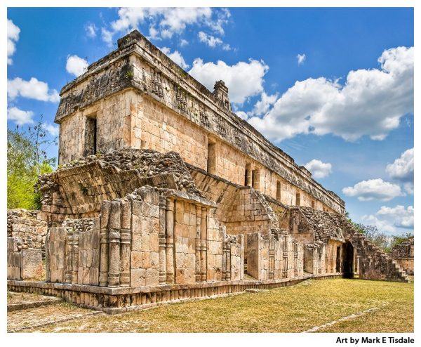 Art print of ancient Mayan Ruins at Kabah in Mexico