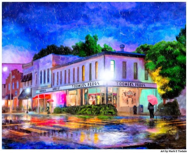 Auburn In The Rain - Toomer's Corner Art Print
