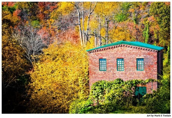 Fall landscape at the Historic Roswell Mill - Georgia Print by Mark Tisdale