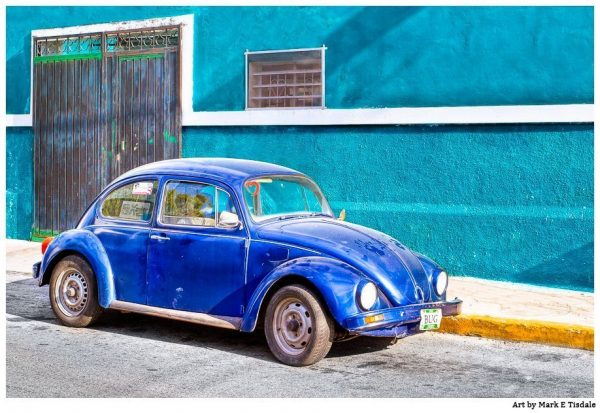 Colorful Mexico Classic Blue Volkswagen Beetle Print by Mark Tisdale -