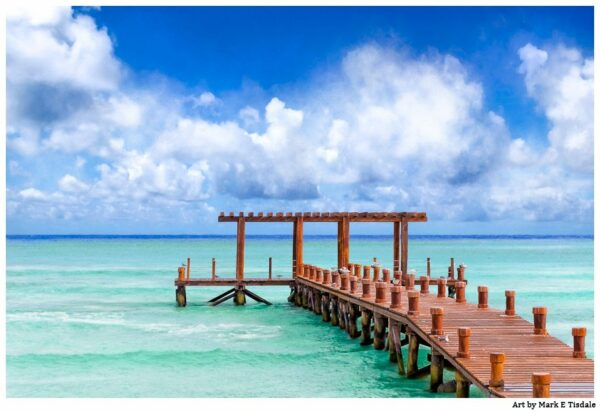 Caribbean Sea Pier in Playa del Carmen Mexico - Print by Mark Tisdale