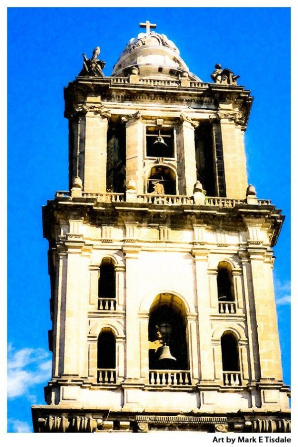 Mexico City Cathedral Bell Tower Print by Mark Tisdale