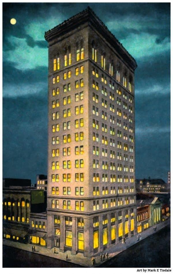 Vintage Empire Building Postcard Print
